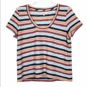 Madewell Alto Striped Scoop Short Sleeve Tee Small